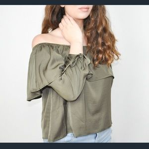 Silk olive off the shoulder top